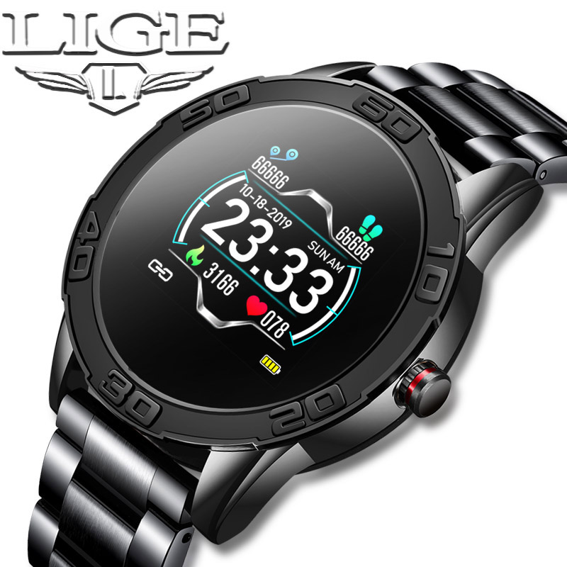 LIGE 2020 New Fashion Smart Watch Men Fitness Tracker IP67 Waterproof Heart rate and blood pressure monitoring for Android iOS