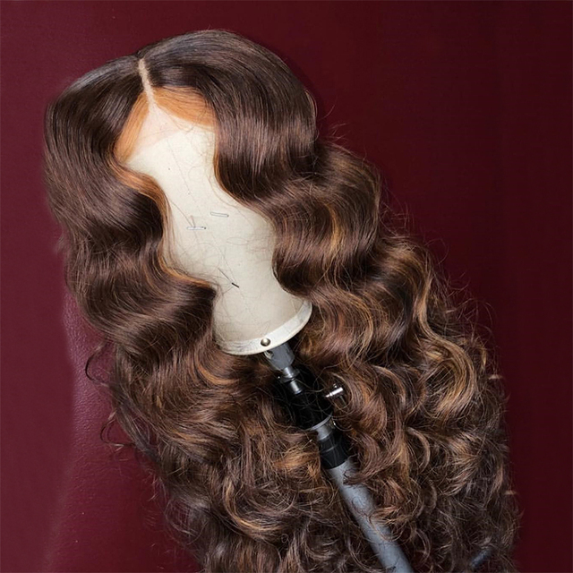 Ombre Honey With Brown Wave Wig 13x6 Lace Front Human Hair Wigs Pre Plucked Ombre Color Brazilian Lace Wigs Bleached Knots 1