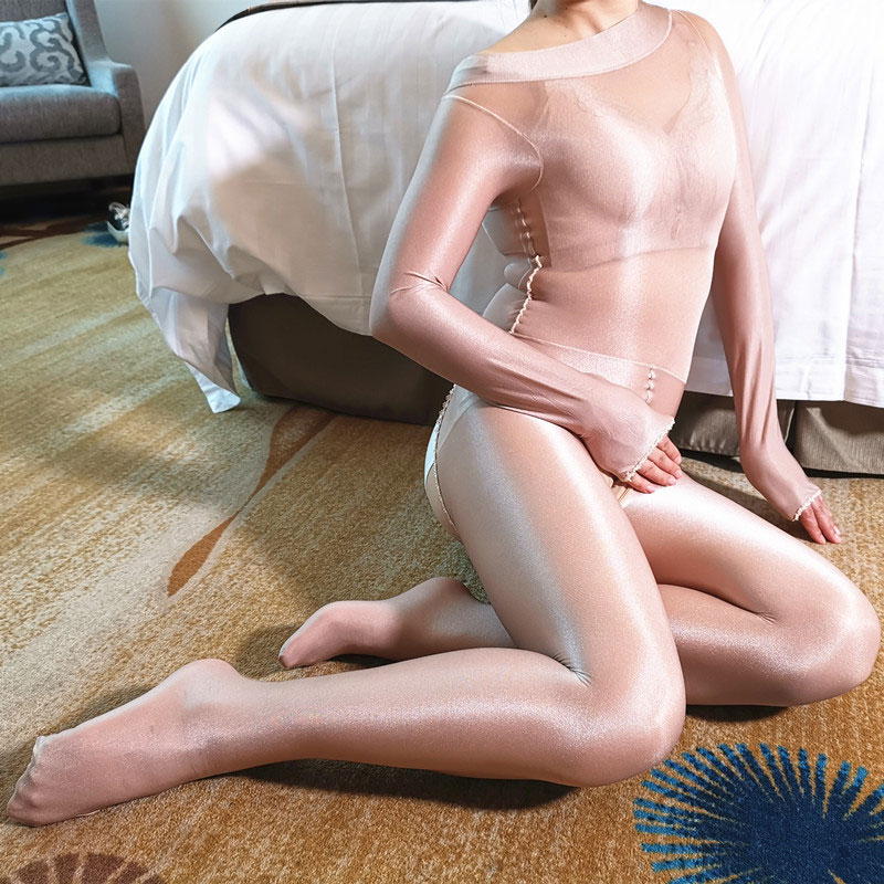 70D Shiny Smooth Full Bodysuit Pantyhose Open Crotch Oil Glossy Body Stocking Women Sexy Tight Catsuit Shaping Exotic Babydoll