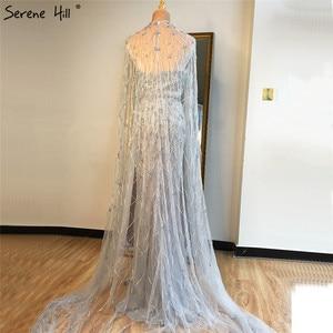 Image 4 - גריי בת ים שרוולים צעיף חוט ערב שמלות 2020 דובאי יוקרה ואגלי קריסטל פורמליות שמלת Serene היל LA70399