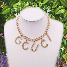 New design jewelry necklace crystal letter short necklace for women wedding necklace hot sale brand jewelry gifts wholesale