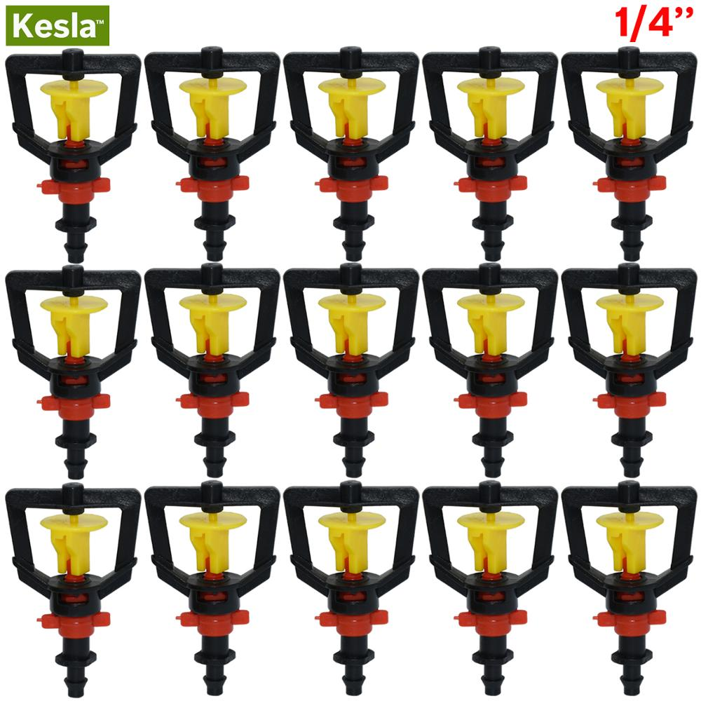 KESLA 5PCS Garden Irrigation Rotating Misting System Hanging Spinning Refraction Micro Nozzle Greenhouses Humidifier 4/7mm Barb
