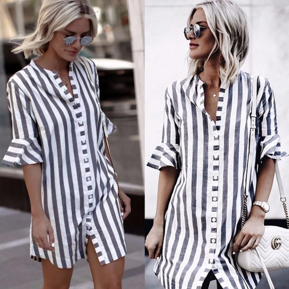 2020 Summer Ladies New Loose Stripe Shirt Dress Women V-neck Cardigan Buttons Half Flare Sleeve Casual Asymmetrical Mini Dress