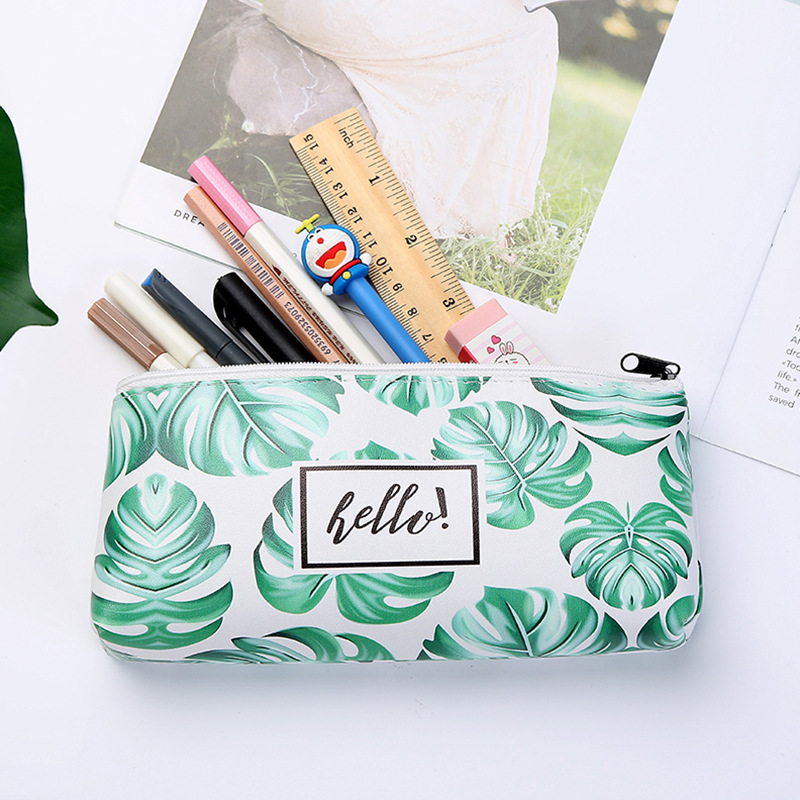 Tropical Green Plants Pencil Case Pen Pouch Bag Office Student Stationery Bag Case