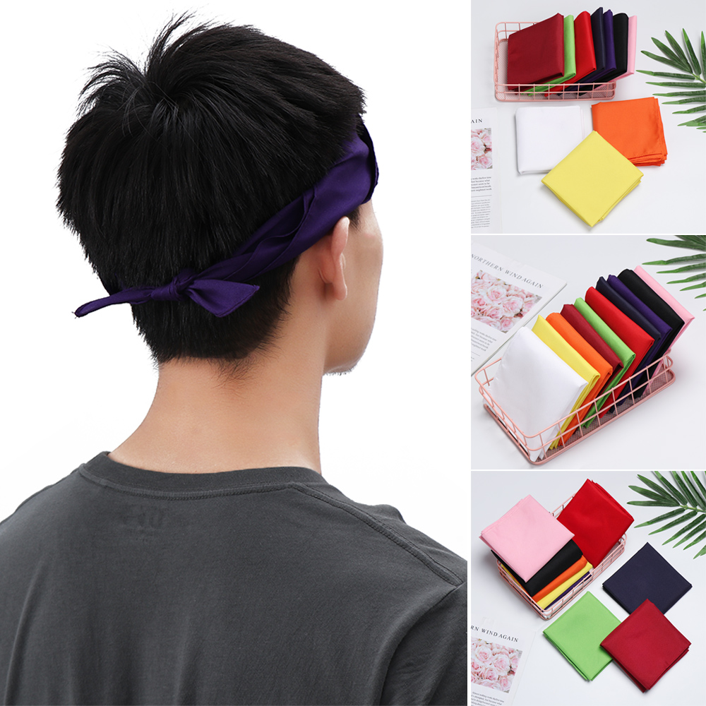 1PC 11 Colors 100% Polyester Pure Color Bandana Riding Collar Square Headband Headwear Outdoor Motorcycle Camping Headscarf