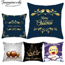 Fuwatacchi Merry Christmas Pillowcases Red Pillows Cover Candles Printed Home Sofa Decorative New Year Gift Cushion 45*45