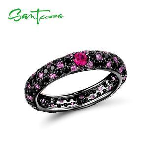 Image 5 - SANTUZZA כסף טבעות לנשים טהור 925 סטרלינג כסף רב צבע CZ טבעת Stackable נצח טבעת טרנדי תכשיטים