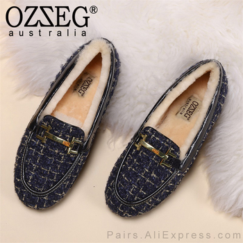 OZZEG Luxury Brand Designer Shoes Women Winter Flats Golden Plaid Upper Australia Sheep Fur Lining Loafers Size 35-40 Blue