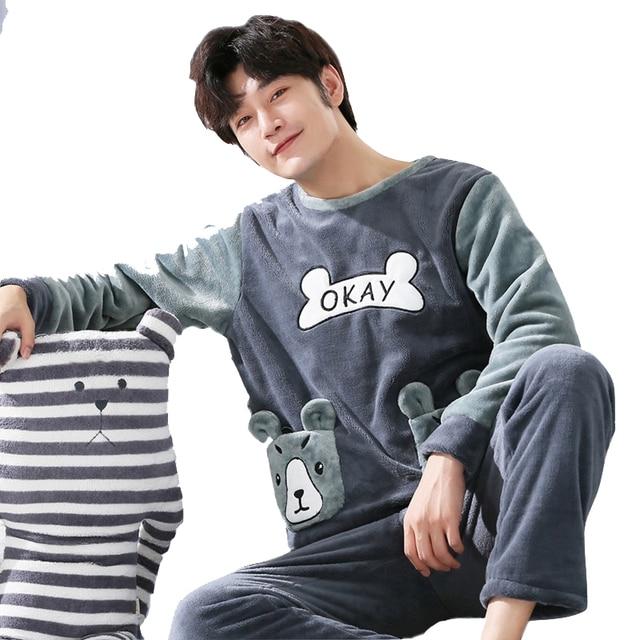 Plus size 3XL men pajamas Winter Flannel Pajama Set Coral fleece Thicken casual Homewear warm sleepwear Boys pijama set