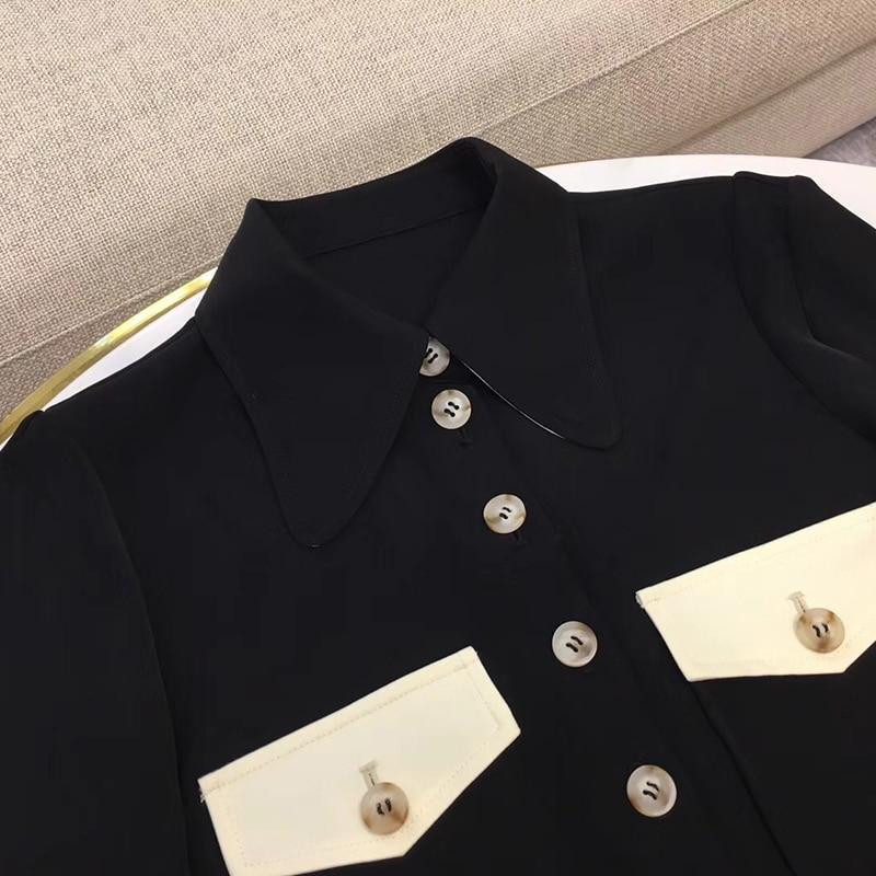 Femmes noir à manches longues petit haut de bureau dame femmes hauts et chemisiers noir 2019 printemps chemise - 4