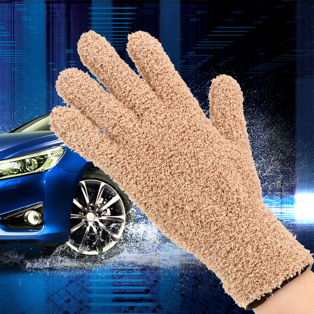 LEEPEE  1 Piece Car Wash Gloves Soft Car Detailing Dust Removal Gloves Coral Velvet Knitted Washing Gloves Cleaning Tool