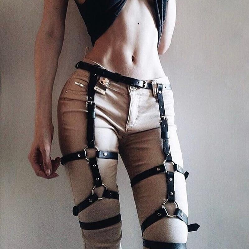 Women Elastic Cage Chain Suspender Strap Hollow Leg Garter Belt Body