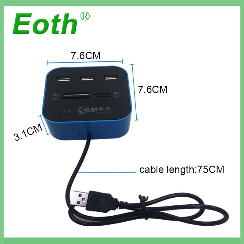 Eoth USB 2 0 usb 3 0 hub Combo All In One Multi card Reader with 3 Ports USB2 0 Hab for MMC M2 MS Blue Color Computer Notebook in USB Hubs from Computer Office