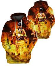 Firefighter Pattern Men Women flag Hoodies Police 3D Print skull Crewneck Sweatshirt suit Plus size