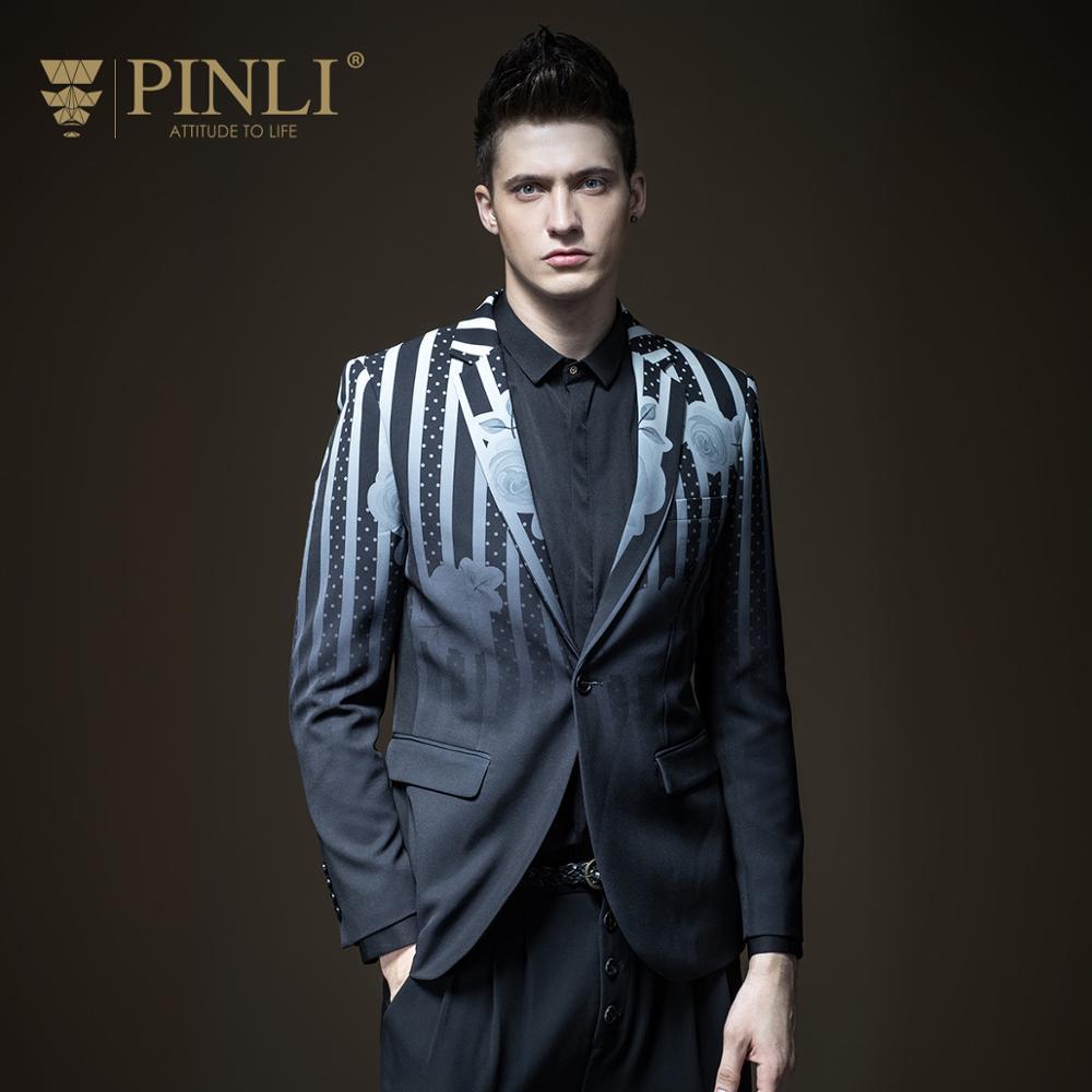 Free Shipping New Fashion 2019 Men's Male Autumn Slim Printed Black Suit  Jacket Tide Blazer Coat B173306167