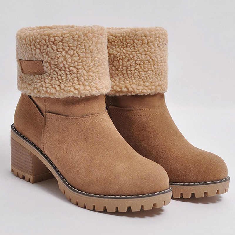 Winter Laarzen Vrouwen Enkellaars Vrouwelijke Snowboots Dames Vierkante Hak Platform Flock Winter Schoenen Vrouwen Slip-On Zapatos de Mujer