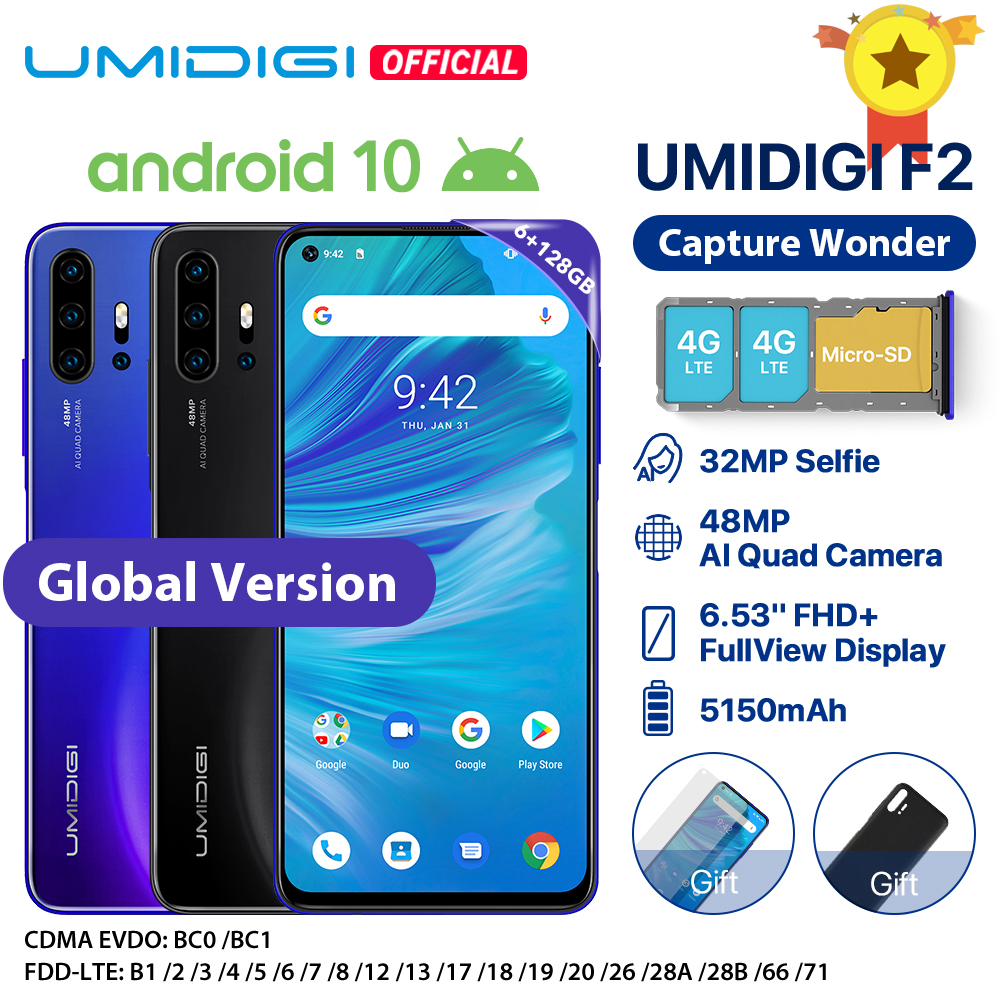 "UMIDIGI F2 Android 10 Version mondiale 6.53 ""FHD + 6GB 128GB 48MP AI Quad caméra 32MP Selfie Helio P70 téléphone portable 5150mAh NFC"
