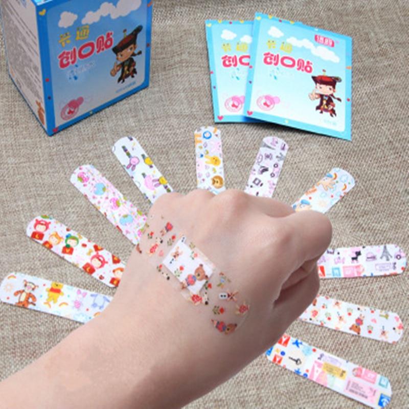 100Pcs Waterproof Breathable Cartoon Band  Hemostasis Adhesive Bandages First Aid Emergency Kit Emergency Outdoor Survival Tool