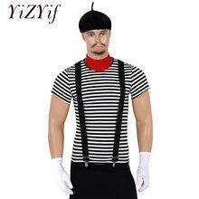 Mannen Volwassenen Franse Mime Kunstenaar Circus Halloween Cosplay Kostuum Gestreept T shirt met Baret Rode Sjaal Jarretel en Handschoenen