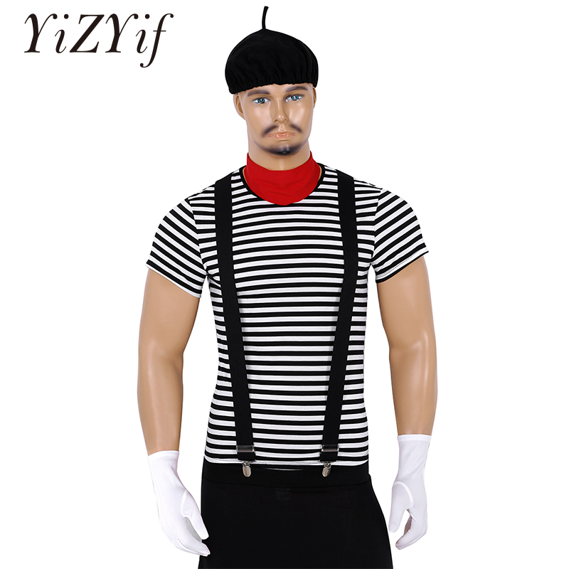 Men Adults French Mime Artist Circus Halloween Cosplay Costume Striped T-shirt With Beret Red Scarf Suspender And Gloves