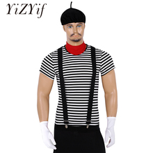 Men Adults French Mime Artist Circus Halloween Cosplay Costume Striped T shirt with Beret Red Scarf Suspender and Gloves