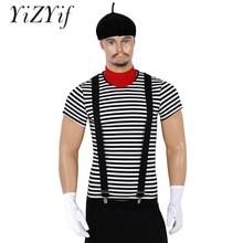 T shirt à rayures pour hommes et adultes, Costume de cirque de lartiste Mime français, Halloween, Costume Cosplay avec béret écharpe rouge, suspension et gants