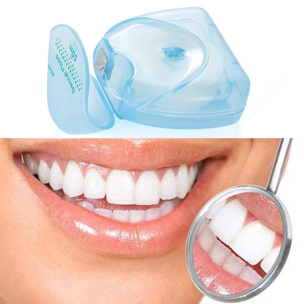 Dental Floss 50 Meter 54 Yard Wire Floss Dental Mint Flavor Floss Pick Dental Flosser Interdental Brush Tooth Pick Stick