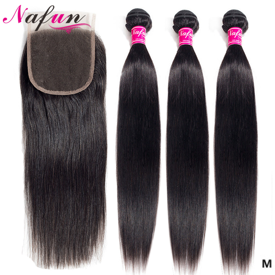 Straight Human Hair Bundles With Closure Brazilian Hair Weave Bundles Hair Vendors Closure With Bundles Non-Remy Hair Extensions