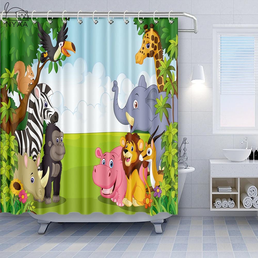 Vixm Kids Decor Shower Curtain Kids Decor Children Nursery Room Safari Themed Cartoon Animals Art Fabric Bath Curtains