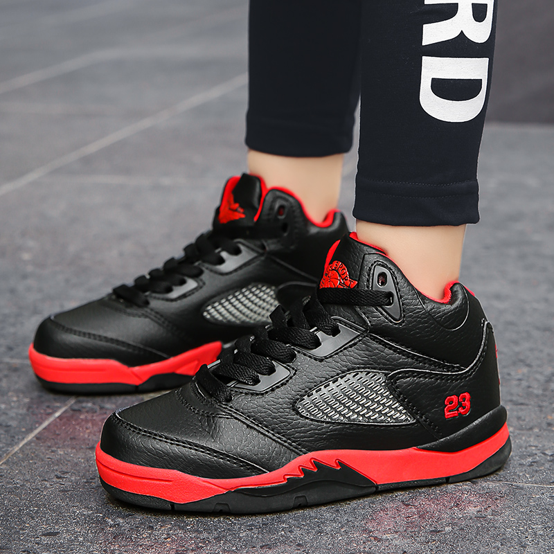 Thick Sole Soft Winter Warm Kids Sneakers Boys Basketball Shoes Non-slip Leather Children Sport Shoes Outdoor Boys Basket Shoes
