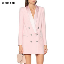 2020 Autumn Pink Black Sexy Party Blazer Dress Women Solid Button Suit Coat Female Outwear Long Jacket Blazers Mujer Vestidos