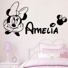 Mickey and Minnie Wall Sticker vinyl Custom Name Kids Room wall decal personalized art poster JH237