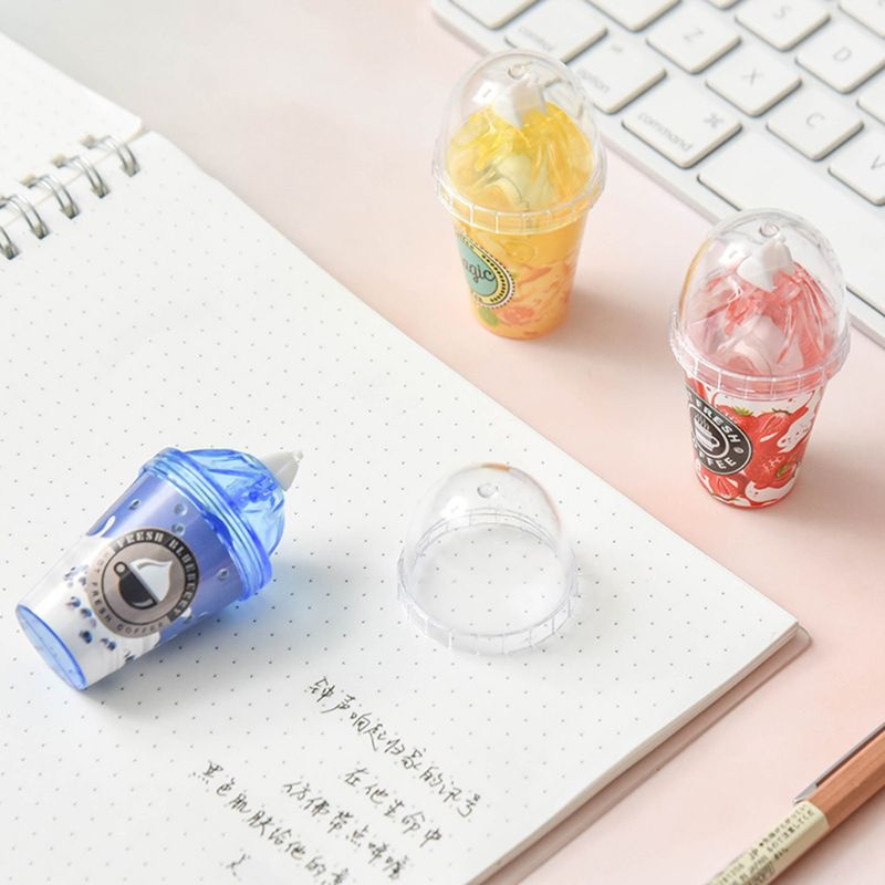 2020 New Cute Milk Tea Cup Ice Cream Correction Correcting Tape Stationery Corrector School Office Supplies Student Kids Gifts