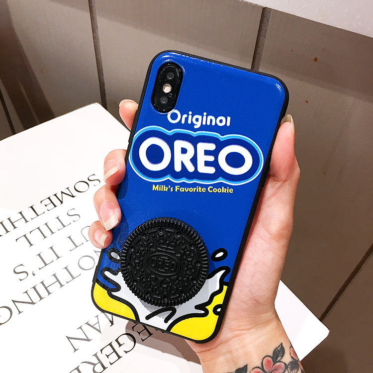 3D Cute For Samsung Galaxy S20 S8 S9 S10 PLUS S10E Note 8 9 10 A7 2018 A750 Oreo Milk Coffee Sandwich Biscuit Soft Phone Cases