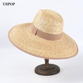 USPOP 2020 nowe kapelusze letnie damskie szerokie rondo kapelusze przeciwsłoneczne naturalne pszeniczne kapelusze słomkowe rimmed jazz crown słomkowe kapelusze przeciwsłoneczne tanie i dobre opinie Słomy Dla dorosłych WOMEN Na co dzień Stałe Sun kapelusze LLZ-SU20015