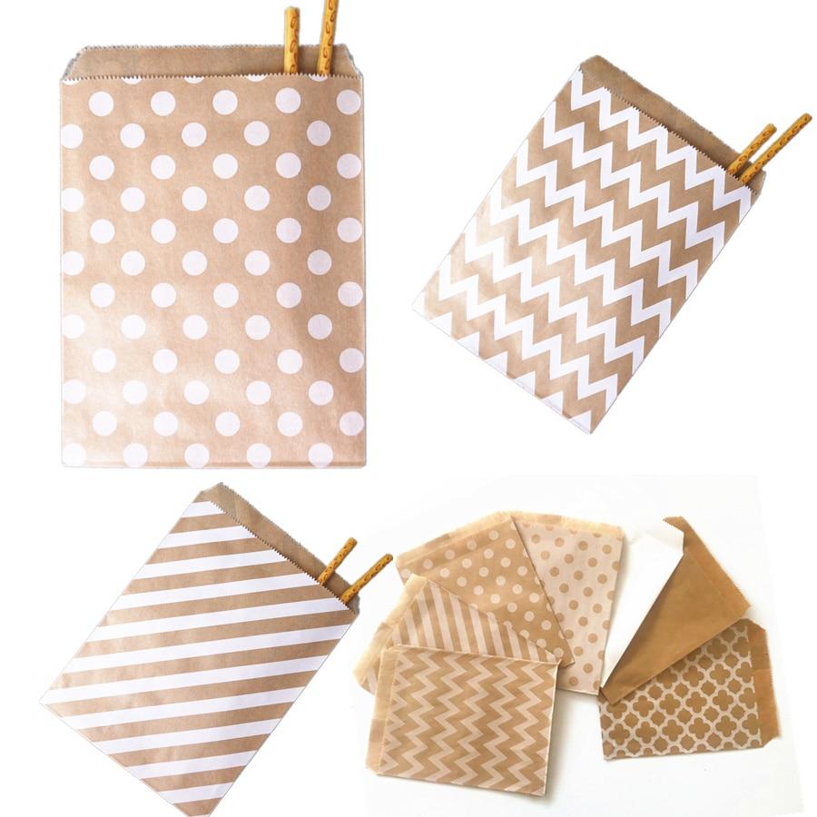 25/50/100pcs Paper Bags Treat Bags Candy Bag Chevron Polka Dot Bags Christmas Wedding Birthday Party Favors Supplies Gift Bags