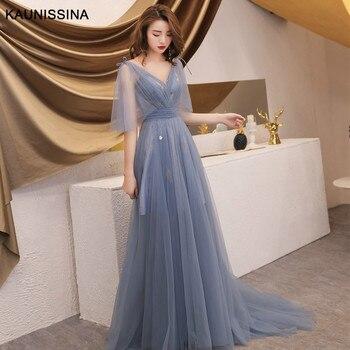 KAUNISSINA Evening Dresses Long Prom Party Dresses A-Line V-Neck Short Sleeve Tulle Formal Dresses Women Elegant Banquet Gowns