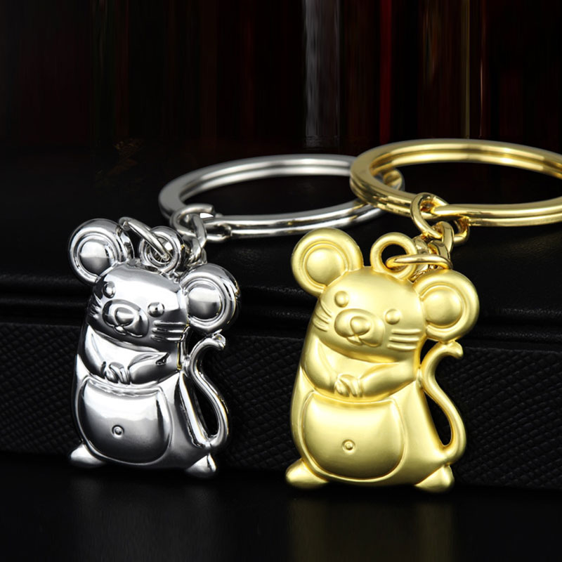 Chunky Rat Mouse Key Chain Animal Bag Pendant Key Ring Chain Keyring For Women Gift Drive Trinket Accessories