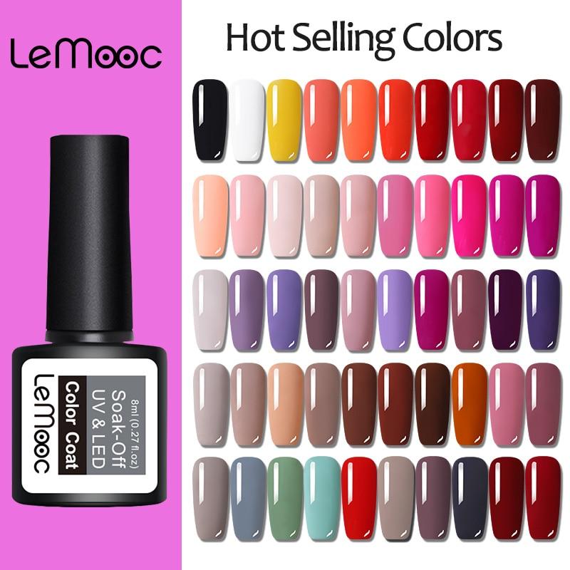 LEMOOC 8ml Nail Gel Polish Hot Selling Colors For Soak Off Semi Permanent Hybrid Nail Art Prime Gel Varnish varnish