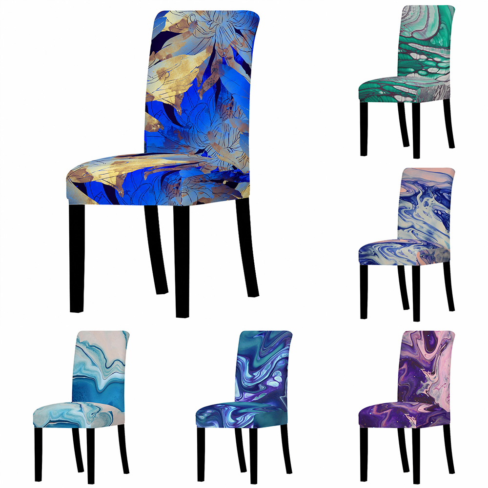 Imported From Abroad Marble Geometric Elastic Dining Room Seat Chair Covers Christmas Chair Cover Stretch Slipcovers For Kitchen Banquet Party Decor