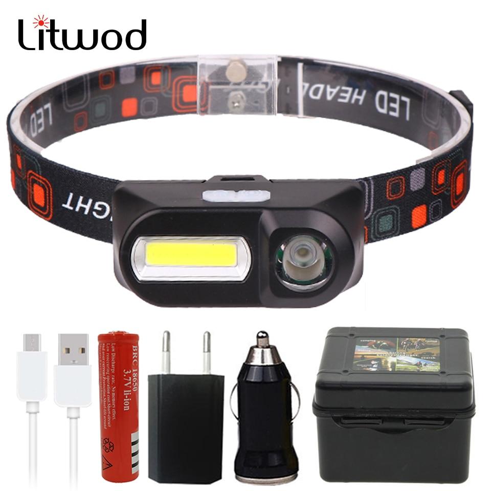 Outdoor Camping Portable Mini XPE+COB LED Headlamp USB Charging Fishing Headlights Flashlight 1804 Z90