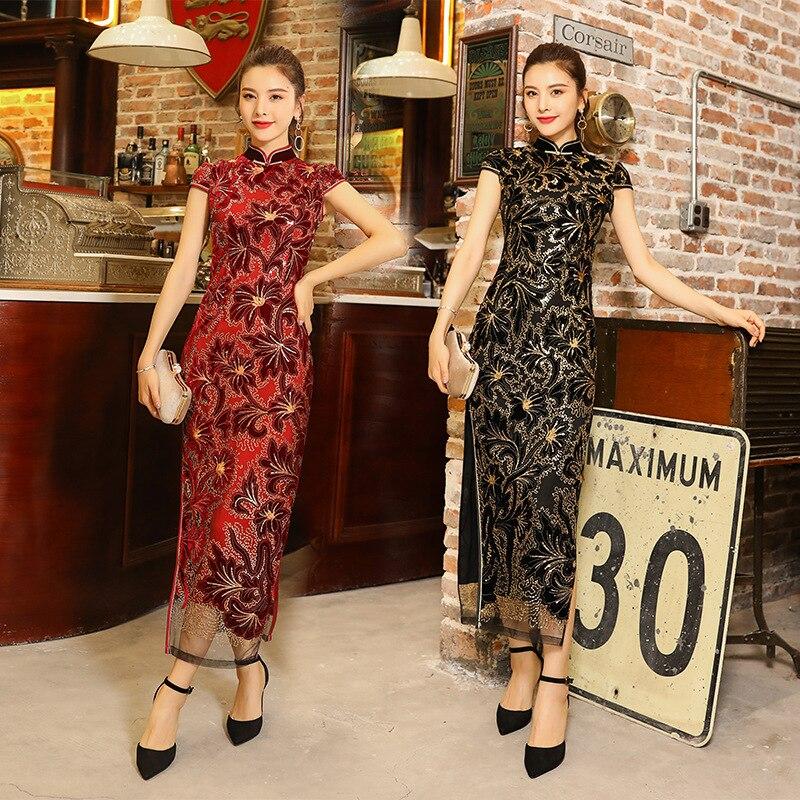 Oversize 3XL New Summer Chinese Traditional Women Lace Qipao Mandarin Collar Cheongsam Novelty Chinese Formal Dress
