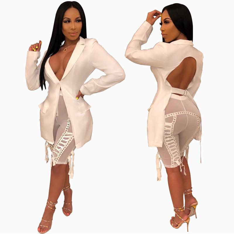 Fashion Blazer Women Backless Long Sleeve Women Blazers And Jackets Outerwear Tops Deep V-neck Party Night Clubwear