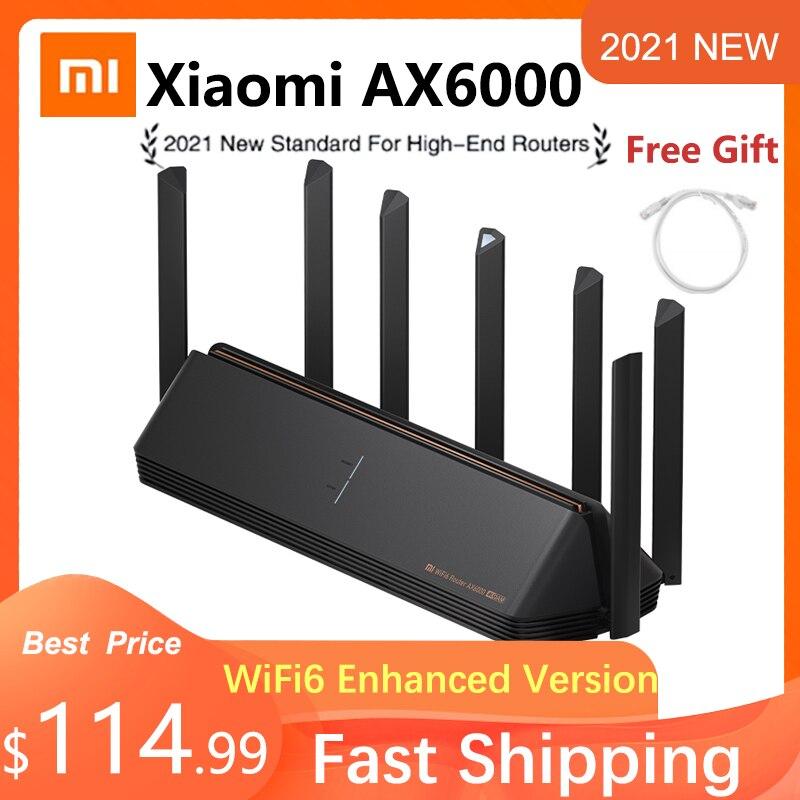 Новинка 2021, маршрутизатор Xiaomi AX6000 AIoT, маршрутизатор 512 Мб/с, WiFi6 VPN, МБ, процессор Qualcomm, сетчатый ретранслятор, внешний сигнал, сетевой усилител...