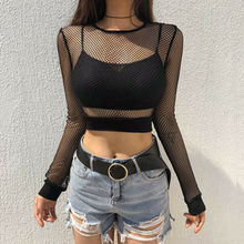 Hot Sell Women Sexy See Through Black Mesh Fishnet Crop Top Ladies Long Sleeve O-neck Female T-Shirt
