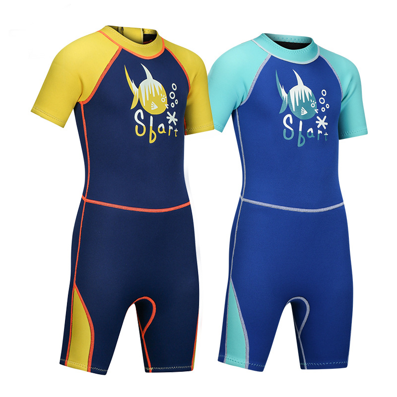 Children 2MM Thick Warm Swimming Suit Swimming Short Sleeve Diving Suit Half Sleeve One-piece Snorkeling Clothing GIRL'S And BOY