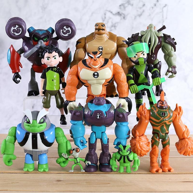 11pcs Ben 10 Omnitrix Toys Grey Matter Heatblast Humongousaur Rath 12cm PVC Action Figures Kids Toys Gifts Y08