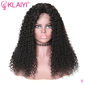 Image 4 - Klaiyi Hair Curly Hair Lace Front Wigs 13*6 Inch Brazilian Remy Hair With Pre Plucked 150% Denisty Human Hair Wig 10 24