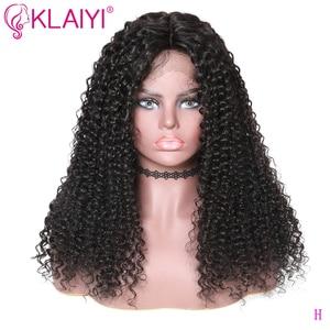 Image 4 - Klaiyi saç kıvırcık saç dantel ön peruk 13*6 inç brezilyalı Remy saç ön 150% yoğunluk insan saçı peruk 10  24