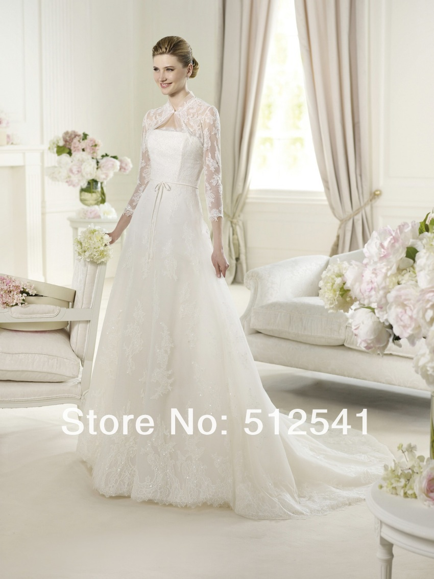 2018 NEW Arrival Vestido De Noiva Robe De Mariee Wedding Dresses A Line Strapless Lace Sequin Applique Organza Sweep Tain